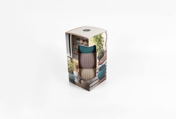 אריזות קרטון ממותגות לסט של עציצים קטנים צבעוניים. המארז הודפס בדפוס אופסט עם ביג לקיפול ושטנץ שחותך את המארז בצורה ייחודית