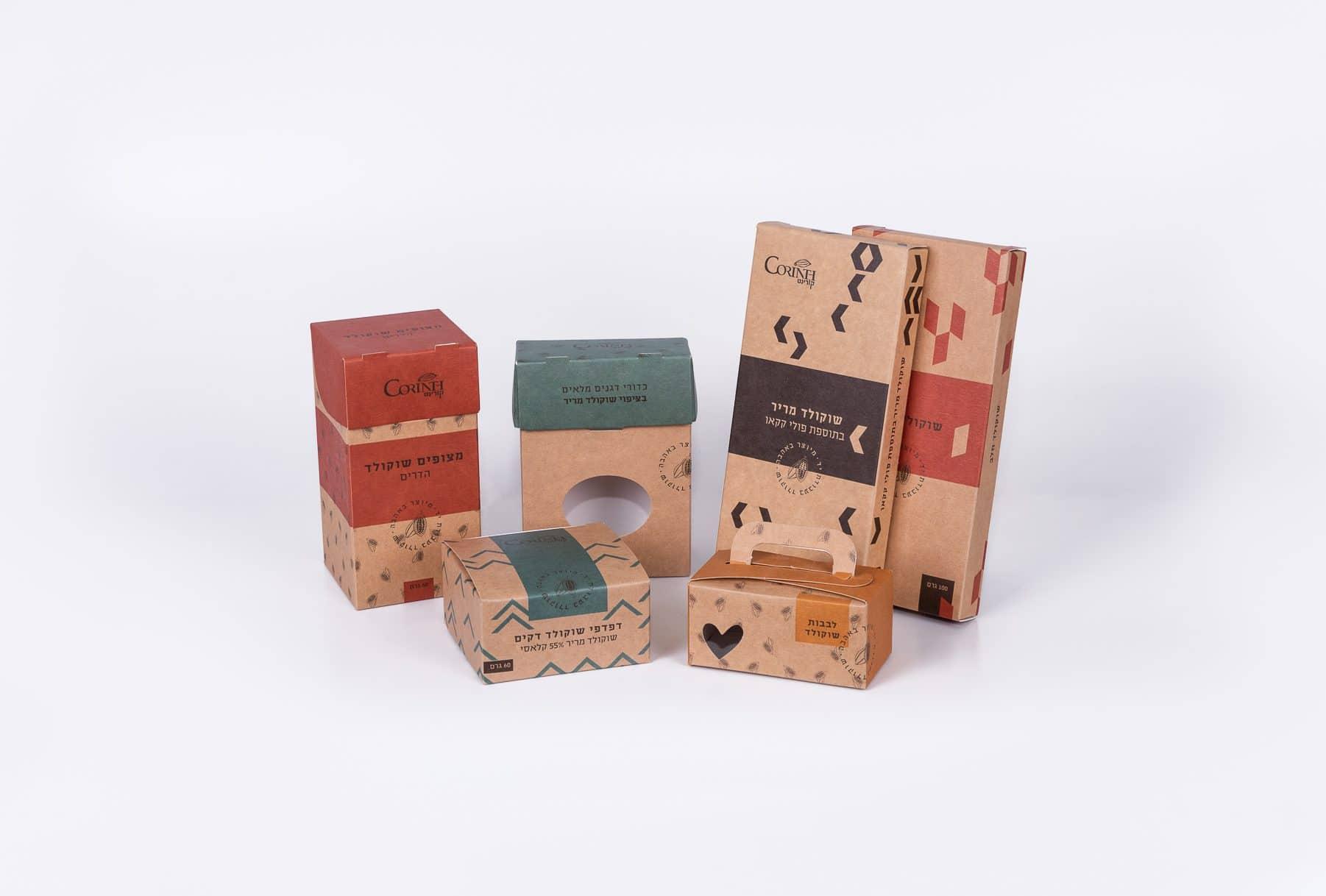 מגוון אריזות שוקולד קורינט מקרטון ייחודי לשמירת המזון. שילוב של צבעי קרטון וצבעים אחרים במארז. ביג ייחודי ושטנצים מיוחדים לקיפול וחיתוך. שילוב של דפוס דיגיטלי ודפוס אופסט להדפסה