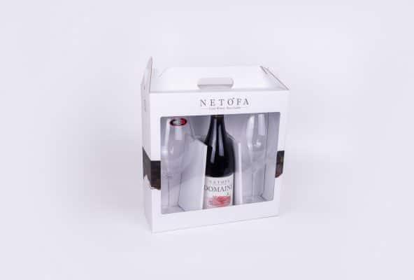 מארזי יין קשיחים ליקב נטופה, סדרת DOMAINE בצבע לבן. יש באריזה בקבוק יין