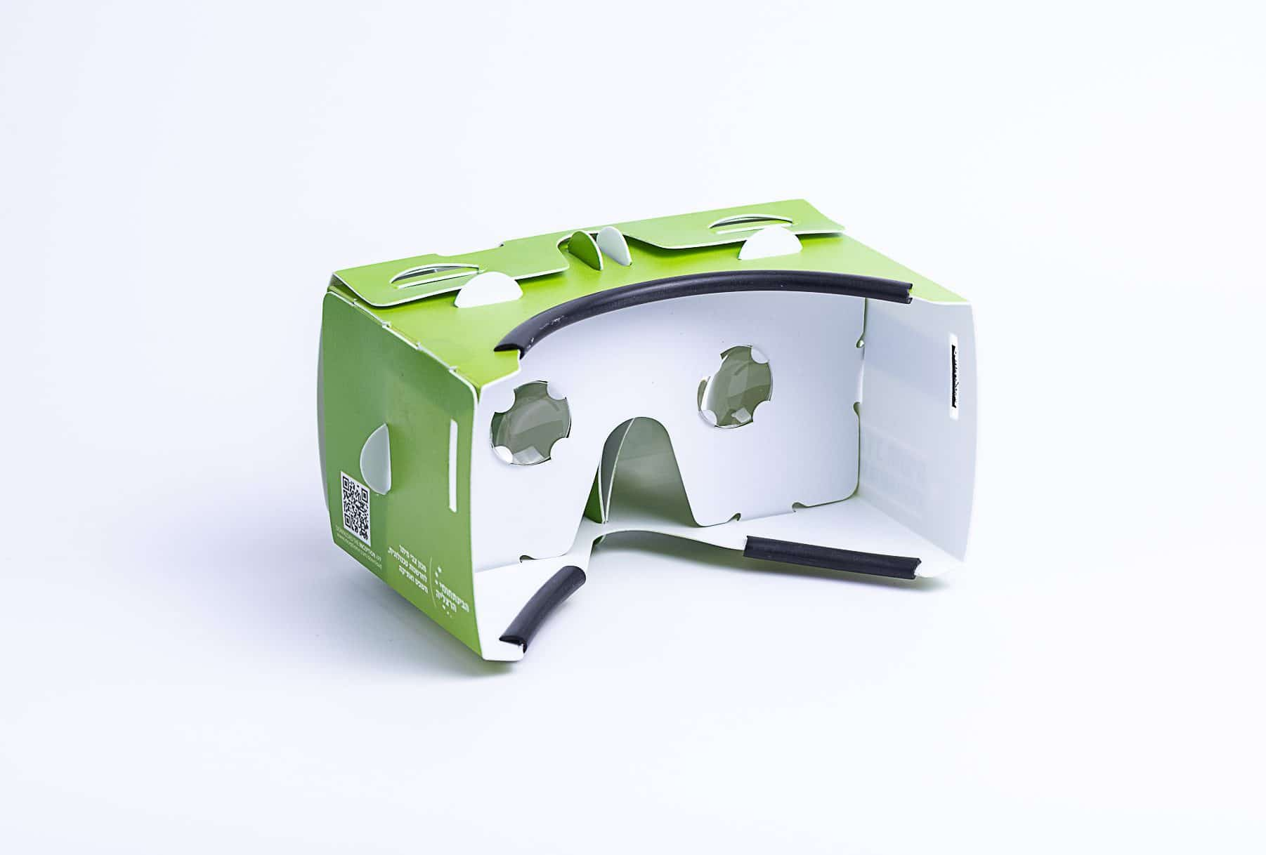 משקפי תלת מימד חדשני בצבע ירוק ובפנים לבן שעשוי מקרטון וגומי