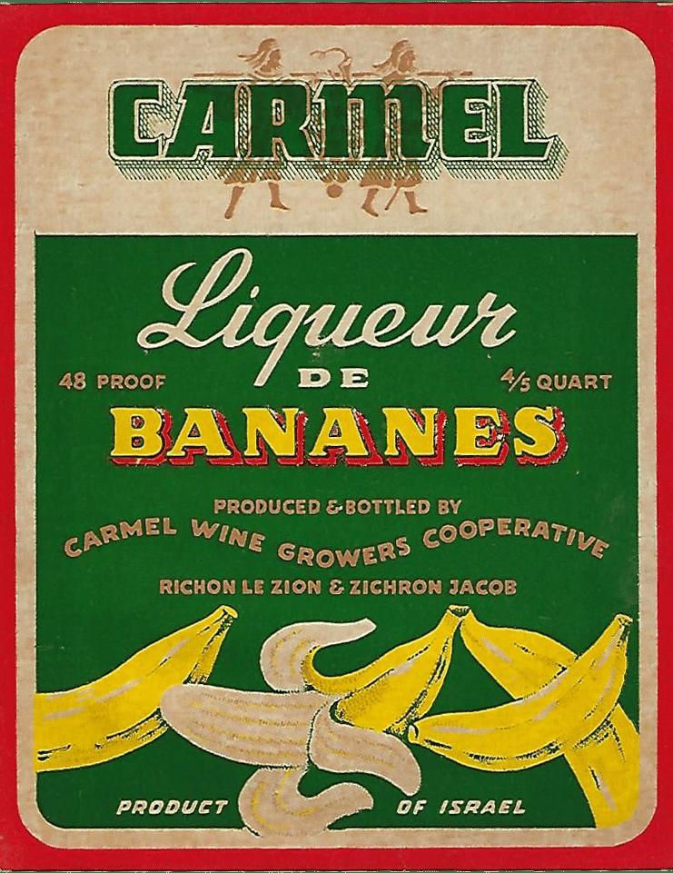 מדבקות בצבע ירוק וצהוב לבקבוקי ליקר בננה - יקבי כרמל