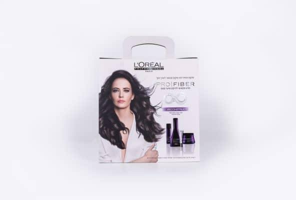 אריזות לחברת LOREAL מפוליפרופילן בצבע לבן, סדרת PRO FIBER לשיער פגום. שימוש בלכה ולמינציה על המארז
