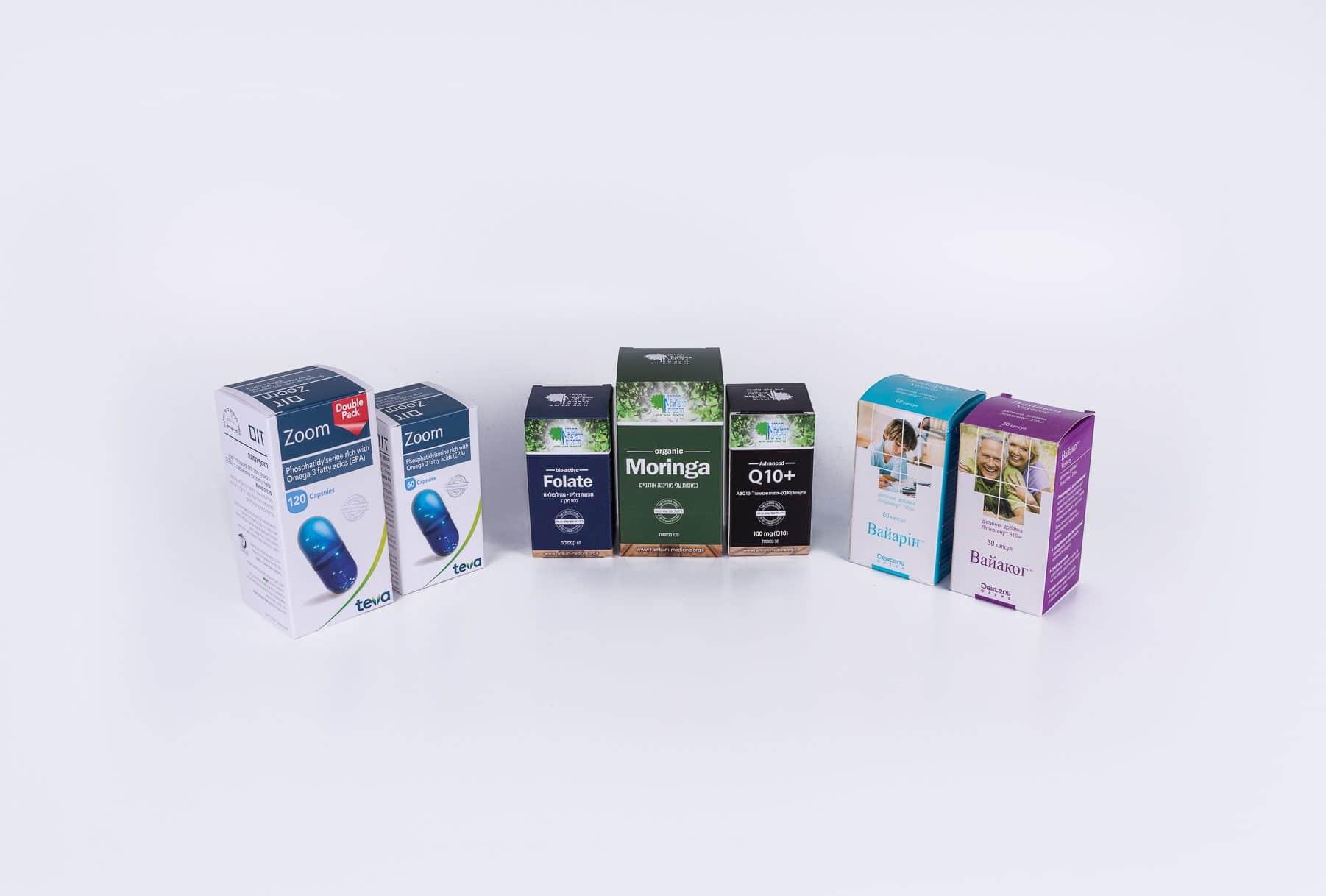 קופסאות מקרטון לתוספי מזון וויטמינים