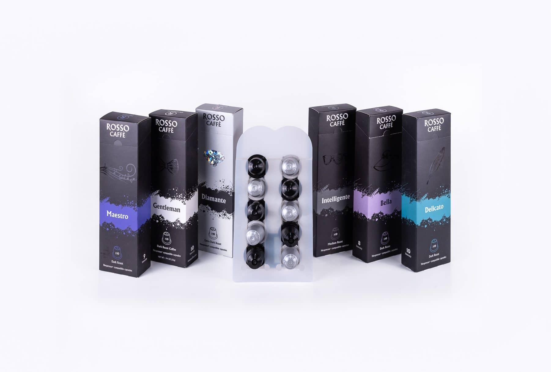 מארזי קפסולות קפה של חברת ROSSO CAFFE. האריזות עשויות מקרטון ומכילות 10 קפסולות קפה