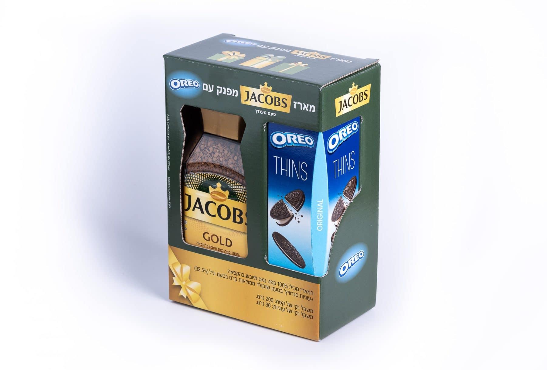 ייצור אריזות ב קפה לחברת JACOBS, מהדורת GOLD. המארז בצבע כחול ומוזהב עם הבלטה והטבעת פויל
