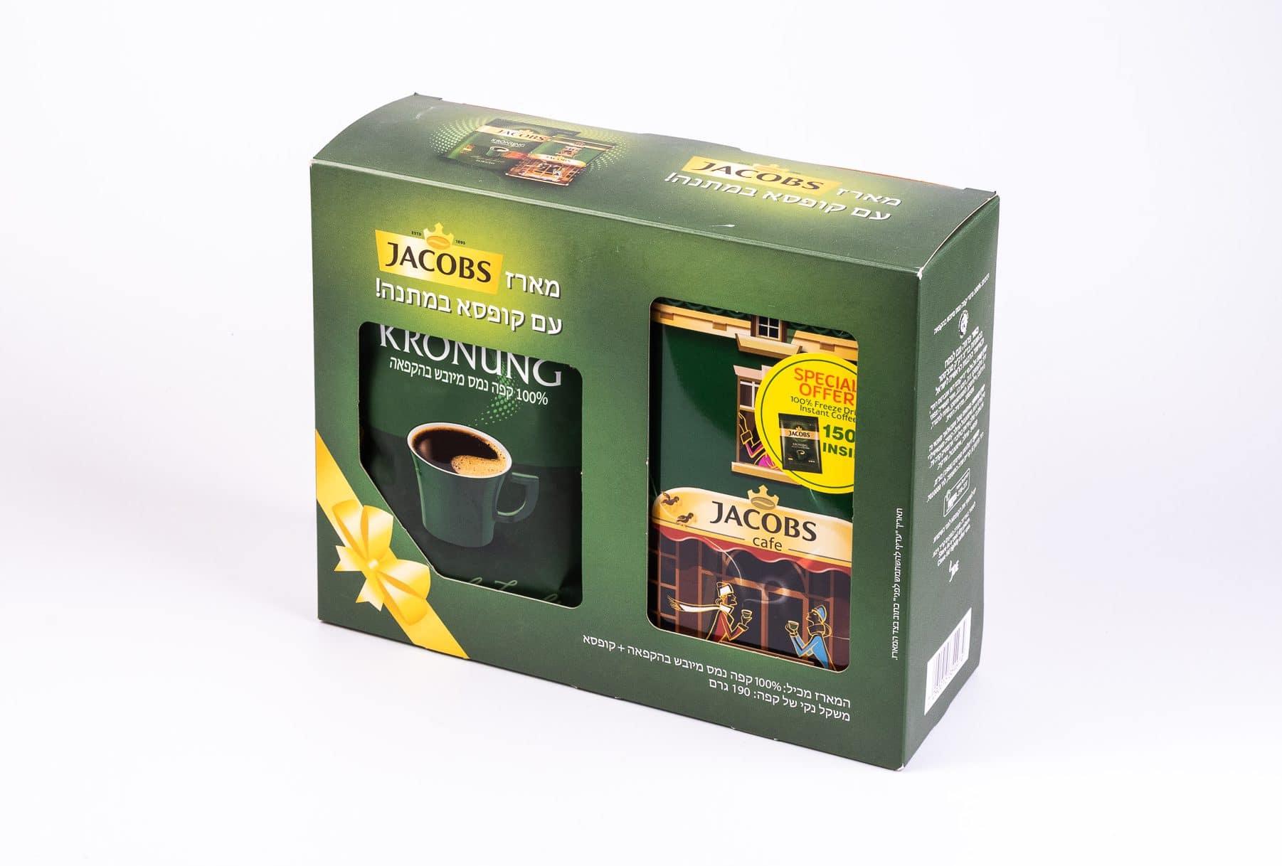 אריזות מקרטון דופלקס לקפה שחור של חברת JACOBS. השבחות הדפוס: הטבעת פויל ולכה סלקטיבית.