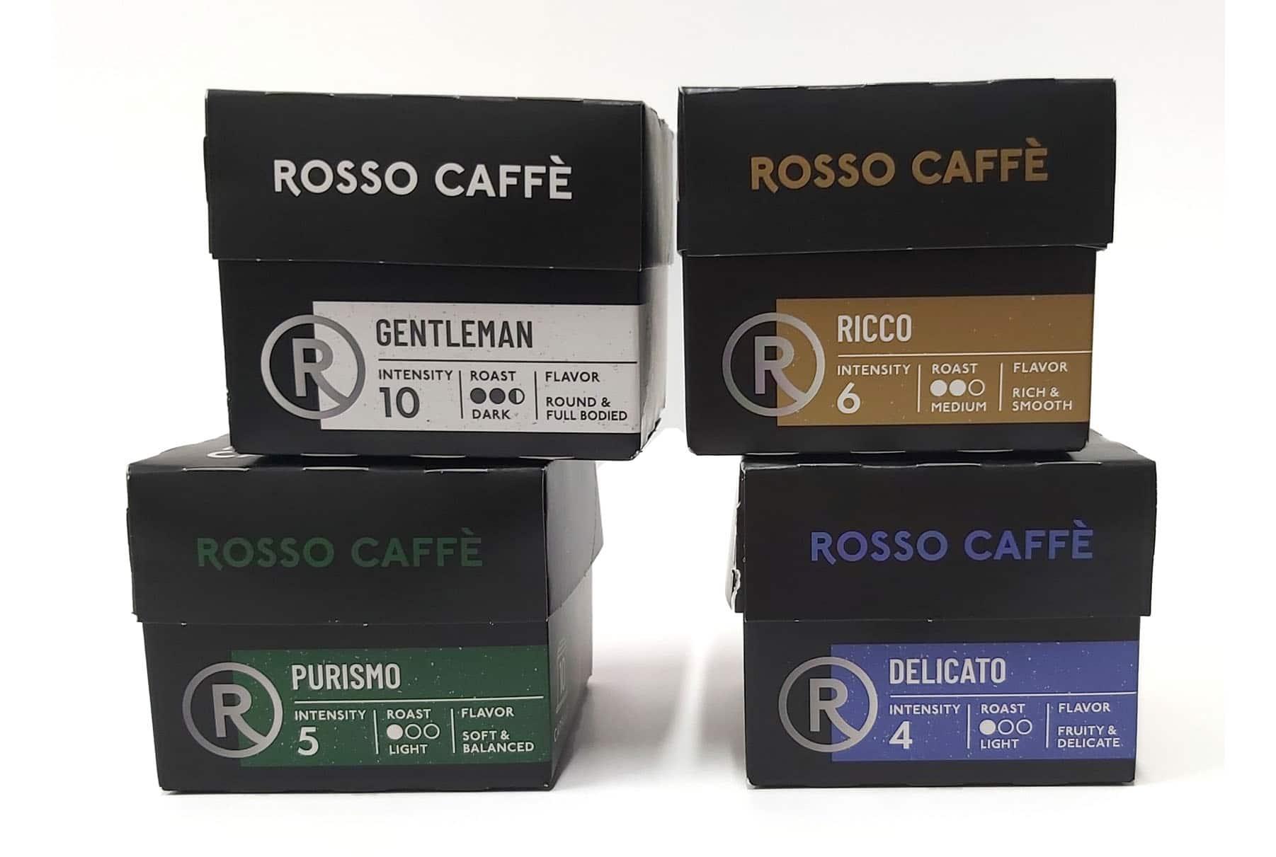 עיצוב אריזות לקפסולות קפה - ROSSO CAFE. המארזים עשויים מקרטון קשיח בצבע שחור עם תוויות שמציין את עוצמת הקפה.