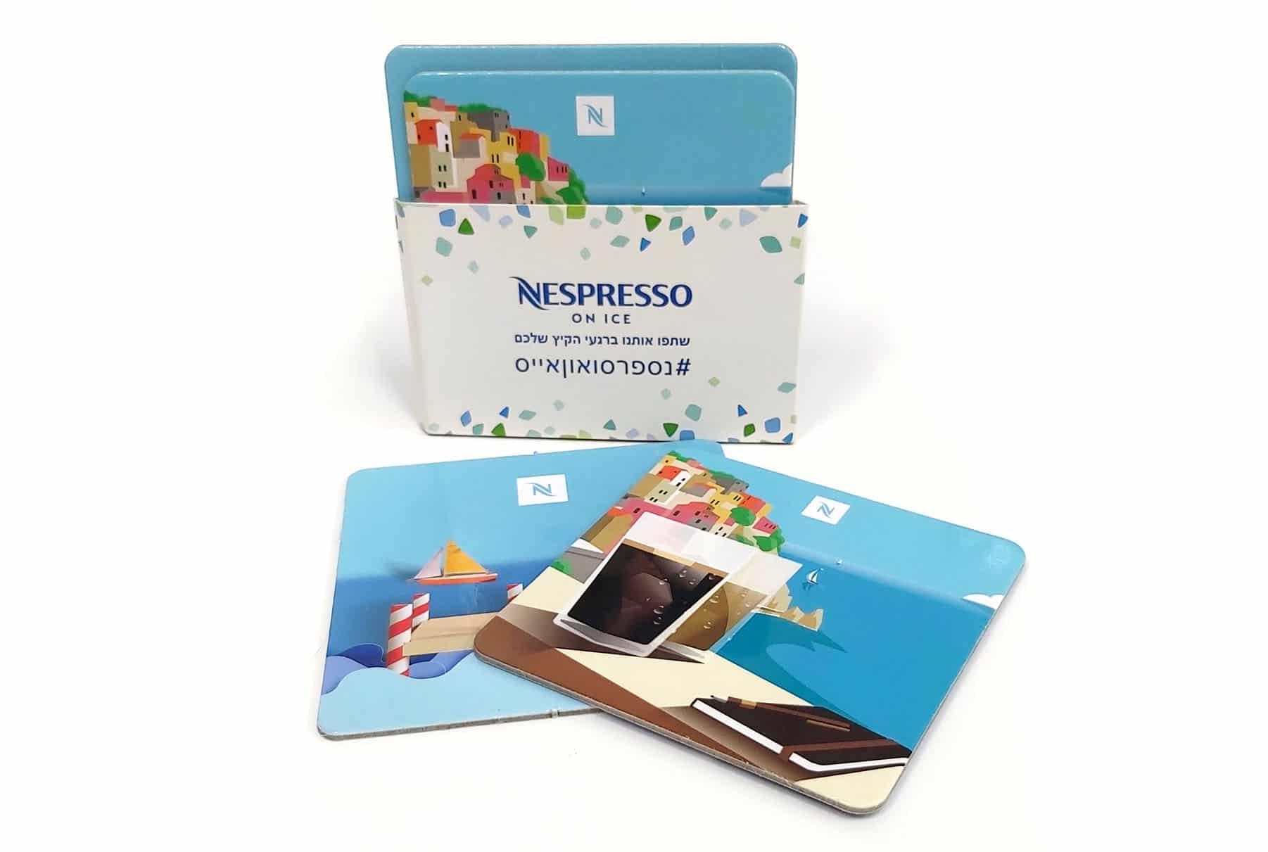 הדפסת תחתיות לכוסות קפה לחברת NESPRESSO
